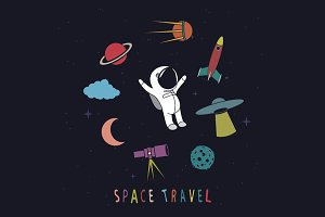 Funny astronaut with space objects