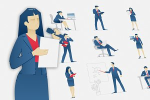 Business people vector set 01
