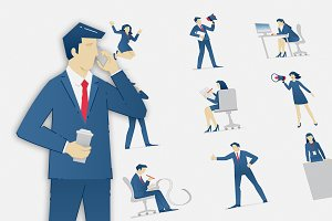 Business people vector set 02