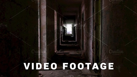 Corridor in the abandoned house. Smooth and slow steady cam shot