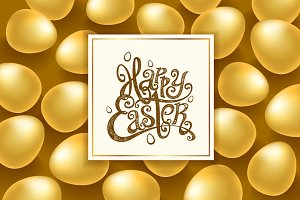 happy easter lettering vector egg