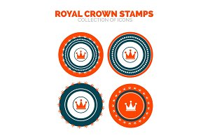 Royal crown stamp premium icon set