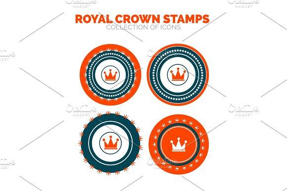 Royal Crown Stamp Premium Icon Set