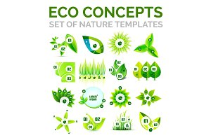 Set of environmental nature or ecology concept abstract templates