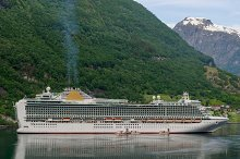 Liner moored in a fjord