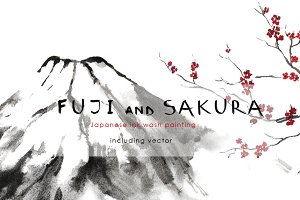 Fuji and Sakura Sumi-e