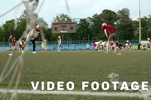 Soccer gates and american football. Smooth and slow slider shot