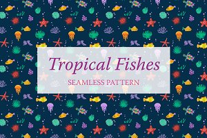 Dark pattern with cute fishes