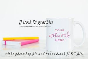 Photoshop Mockup Mug on Marble Desk