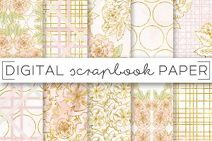 Peach Gold Flower Digital Papers