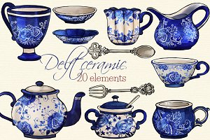 Delft Ceramic Watercolor Clip Arts