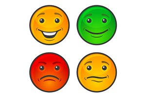 Color Smiley Face Icons Set