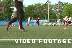 American football. Training, running, playing. Smooth and slow slider shot