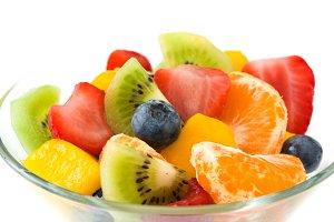 Fruit salad in crystal bowl