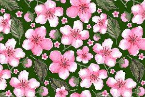Pink sakura floral seamless pattern