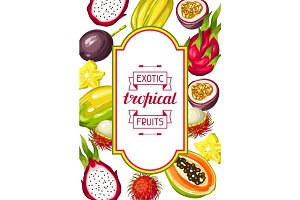 Frame with exotic tropical fruits. Illustration of asian plants