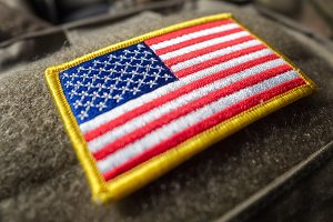 US flag velcro patch on the bulletproof vest, shallow depth of field