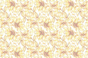 Sunflower floral seamless pattern