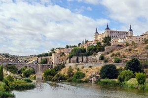 View of the alcazar in toledo. Spain
