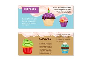 Online shopping cupcakes flyers design