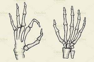 set of Skeleton hand