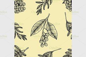 Rowan berry floral botany pattern