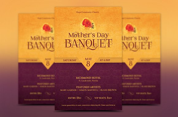 mothers day banquet flyer template flyer templates creative market