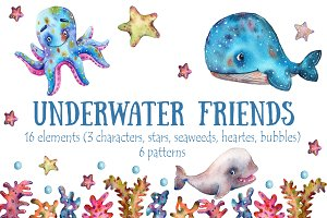 Underwater Friends - Watercolor Set
