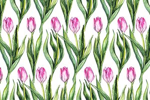 Watercolor tulip seamless pattern