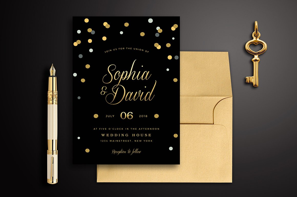 Black & Gold Wedding Invitation ~ Wedding Templates