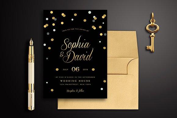 Black Gold Wedding Invitation Templates Creative Market
