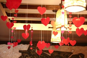 Hearts on ropes.  Valentine's Day.