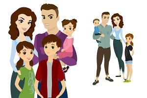 Happy family cartoon character