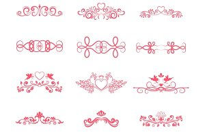 Pink Decorative Curly Elements
