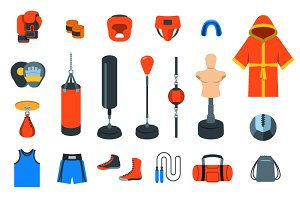 Boxing flat vector icons
