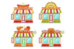 Fast Food Buildings Vector