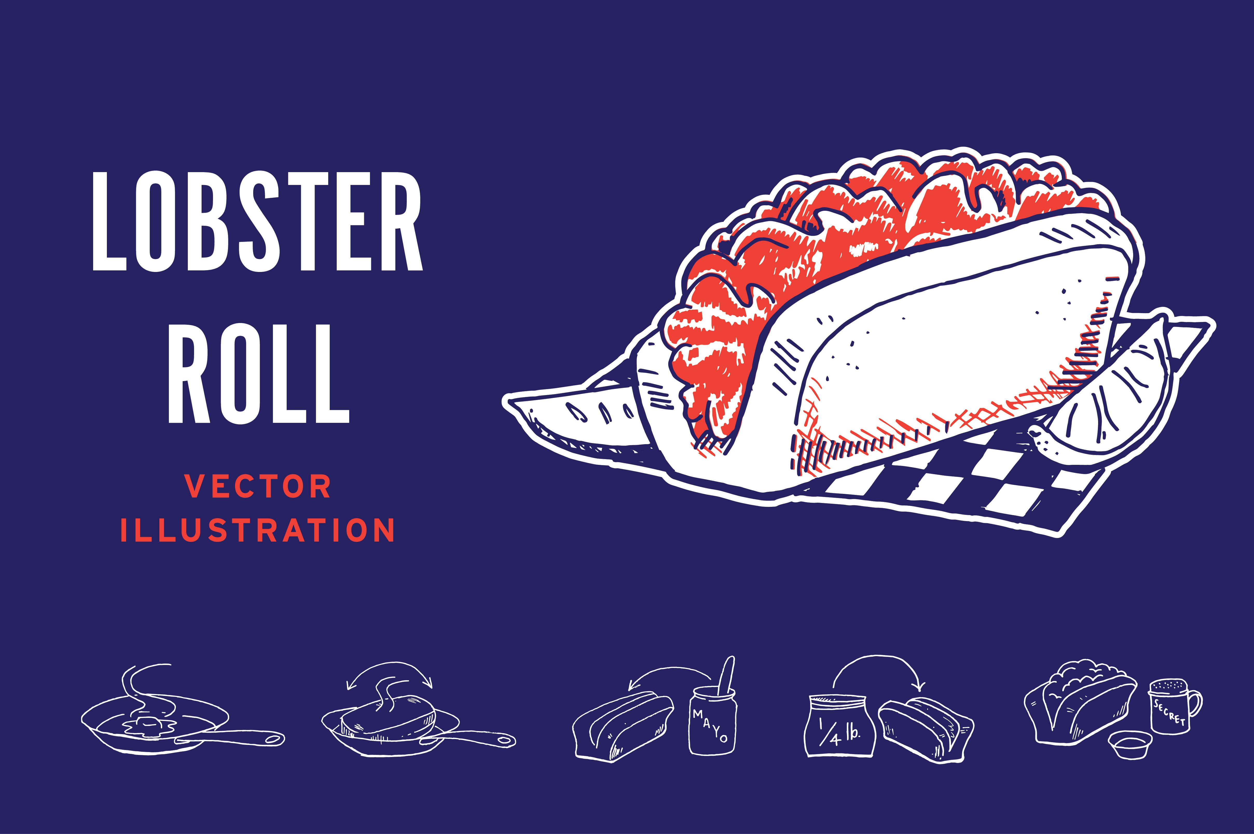 Lobster Roll Cooking Instructions ~ Illustrations ~ Creative Market