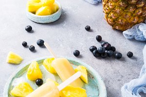 Homemade pineapple popsicles