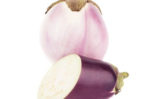 Summer vegetable: raw violet eggplant, isolated