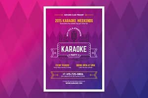 Karaoke party poster template