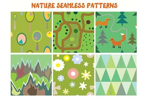 Nature seamless patterns set