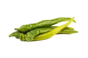 Summer vegetables: hot green chili peppers, isolated