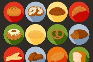 colored vector bakery icons