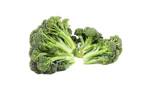 Green raw broccoli, isolated on white