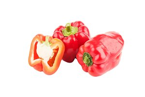 Summer vegetables: Red sweet peppers, isolated