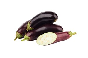 Vegetables: Violet eggplants, isolated