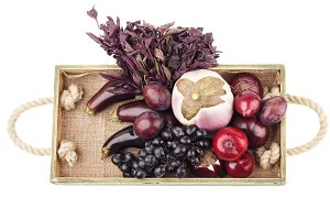 Set of raw violet vegetables and fruits