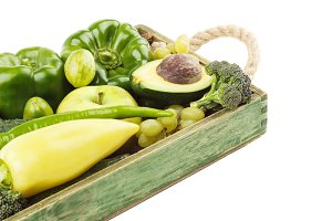 Set of green fresh raw vegetables and fruits