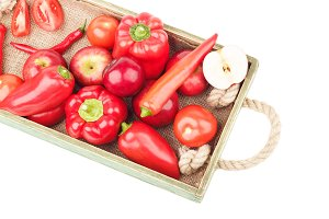 Set of red fresh raw vegetables and fruits