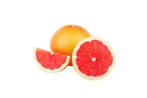 Ripe Grapefruit, isolated on white